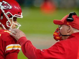 Kansas City Chief QB Patrick Mahomes and head coach Andy Reid, seen here on the sideline of Super Bowl 55, are the odds favorites to win Super Bowl 56. (Image: Getty)