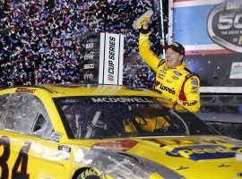 Michael McDowell captured his first NASCAR Cup Series victory on Sunday, as he emerged from a final-lap wreck to win the Daytona 500. (Image: Jared C. Tilton/Getty)