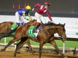 Mishriff and David Egan pulled off a stand-up rally against Mike Smith and Charlatan to win the $20 million Saudi Cup. Charlatan's trainer, Bob Baffert, was pleased with his runner-up finish. (Image: Andrew Parker/Grosskick Racing)
