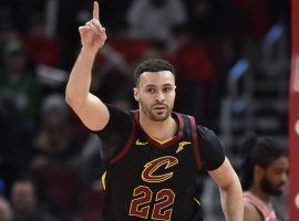 Cleveland Cavs forward Larry Nance, Jr., seen here celebrating a 3-point shot against the Chicago Bulls, will miss up to six weeks with a hand injury. (Image: Quinn Harris/USA Today Sports)