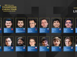 Magnus Carlsen headlines the field of 16 grandmasters competing in the Opera Euro Rapid chess tournament. Image: Champions Chess Tour/Twitter)