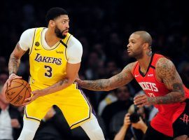 Houston Rockets power forward PJ Tucker, seen here guarding Anthony Davis from the LA Lakers, could join the Lakers in an trade. (Image: Gary A. Vasquez/USA Today Sports)