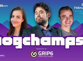 Pogchamps 3 begins on Sunday, Feb. 14, with a mix of Twitch streamers and mainstream celebrities battling for a $100,000 prize pool. (Image: Chess.com/Twitter)