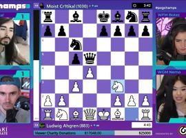 Ludwig defeated MoistCr1tikal in the final pool play match of PogChamps 3 to clinch first place in Group D. (Image: Chess.com/YouTube)