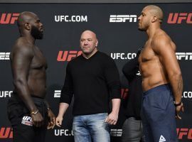 Jairzinho Rozenstruik (left) faces off against the undefeated Ciryl Gane (right) in a fight that could send the winner straight into the UFC heavyweight title picture. (Image: Jeff Bottari/Zuffa)