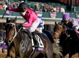 Vequist surged past Dayoutaththeofffice to win the Breeders' Cup Juvenile Fillies and earn Champion 2-Year-Old Female. She opens her 2021 campaign Saturday in the Grade 2 Davona Dale at Gulfstream Park. (Image: Darron Cummings/Associated Press)