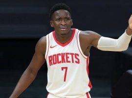 Victor Oladipo, seen here with the Houston Rockets, will play for his third team this season after a trade with the Miami Heat. (Image: Sergio Estrada/USA Today Sports)
