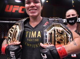 Two-division champion Amanda Nunes (pictured) will defend her featherweight title against Megan Anderson at UFC 259 on Saturday. (Image: Jeff Bottari/Zuffa)