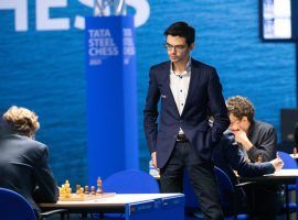 Anish Giri stands during a final round game at the 2021 Tata Steel Chess Tournament. Giri won the Magnus Carlsen Invitational, and sits fourth in the Champions Chess Tour standings. (Image: Jurriaan Hoefsmit/Tata Steel Chess Tournament 2021)