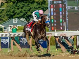 Arrogate's record victory in the 2016 Travers Stakes was Fox Sports' first telecast of that iconic race. Along with purchasing an equity stake in ADW NYRA Bets, Fox Sports signed an extension to television NYRA races through 2030. (Image: Jesse Caris/Caris Photography)