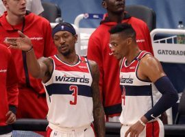 Bradley Beal and Russell Westbrook discusses defense during a recent winning streak by the Washington Wizards. (Image: Lane Pryce/Getty)
