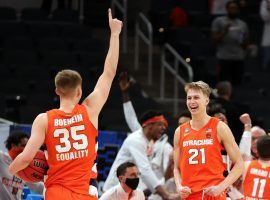 Syracuse leading scorer Buddy Boeheim led the #11 Orange to a upset win over #3 West Virginia in the second round of March Madness. (Image: Darron Cummings/AP)