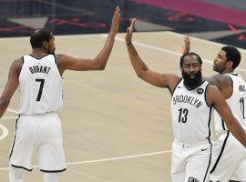 Brooklyn Nets and their Big 3 -- Kevin Durant, James Harden, and Kyrie Irving -- are consensus favorites to win the NBA title. (Image: Getty)