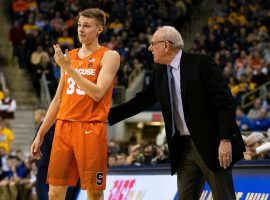 Buddy Boeheim gets advice from his father, Jim Boeheim, who is the head coach of Syracuse. (Image: Porter Lambert/Getty)