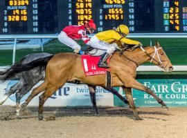 Clairiere (1) and Joe Talamo ran down Travel Column and Florent Geroux to win last month's Rachel Alexandra Stakes. The two top 3-year-olds tangle for the third consecutive race Saturday in the Grade 2 Fair Grounds Oaks. (Image: Lou Hodges Jr./Hodges Photography)