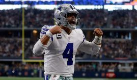 Quarterback Dak Prescott celebrates a touchdown for the Dallas Cowboys at AT&T Stadium in Arlington, Texas. (Image: Ron Jenkins/AP)