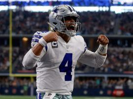 Quarterback Dak Prescott celebrates a touchdown for the Dallas Cowboys at AT&T Stadium in Arlington, Texas. (Image: Ron Jenkins/AP)