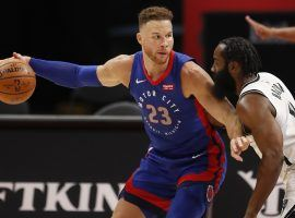 Blake Griffin, seen here with the Detroit Pistons and defended by the Brooklyn Nets, is now a free agent and could sign with the Nets to bolster their bench. (Image: Raj Mehta/USA Today Sports)