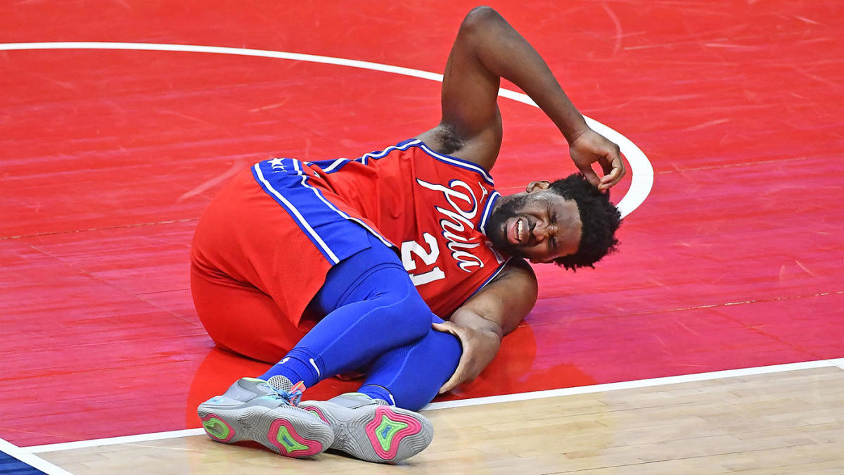 Joel Embiid knee injury Philadelphia 76ers Sixers Philly Out