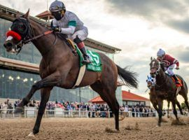 Hot Rod Charlie pulled away from Midnight Bourbon and the rest of the Louisiana Derby field for a two-length victory that clinched him a spot in the Kentucky Derby. (Image: Jamie Newell/Twin Spires)