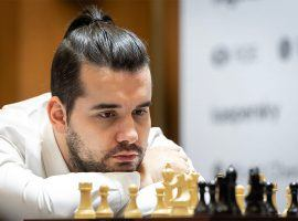 Ian Nepomniachtchi knocked off Magnus Carlsen to reach the finals of the Magnus Carlsen Invitational, where he'll face Anish Giri. (Image: Niki Riga/World Chess)