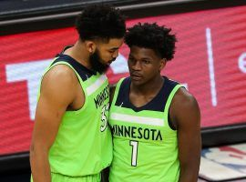 Teammates Karl-Anthony Towns and rookie Anthony Edwards combined for 83 points in an upset victory for the Minnesota Timberwolves over the Phoenix Suns. (Image: Porter Lambert/Getty)