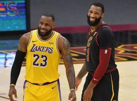 Andre Drummond and LeBron James share a chuckle during a Los Angeles Lakers and Cleveland Cavaliers game at the Staples Center in LA. (Image: Jason Miller/Getty)