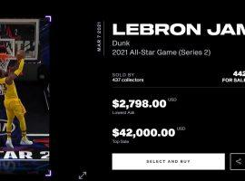 A LeBron James dunk has emerged as the priciest moment in the NBA Top Shot 2021 All-Star Game set, with the #1 version of the card selling for $42,000. (Image: NBA Top Shot)