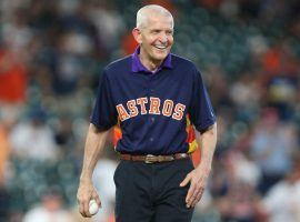 Jim 'Mattress Mack' McIngvale, seen here throwing out the first pitch at a Houston Astros game in 2019, made headlines once again with a seven-figure wager on March Madness. (Image: Troy Taormina/USA Today Sports)