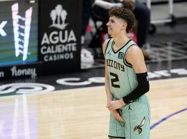 Charlotte Hornets rookie LaMelo Ball tries to play through the pain of a wrist injury, which occurred against the LA Clippers at Staples Center. (Image: AP)