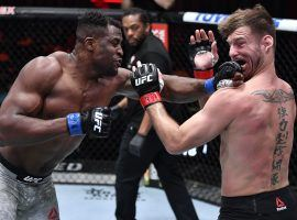 Francis Ngannou (left) knocked out Stipe Miocic (right) to win the UFC heavyweight title on Saturday night. (Image: Jeff Bottari/Zuffa)