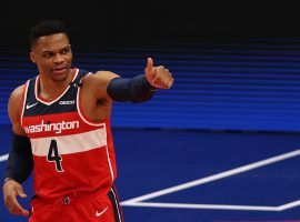 Russell Westbrook, seen here in a game with the Washington Wizards, has been mentioned in nonstop trade chatter with the LA Clippers over the last few days. (Image: Patrick Smith/Getty)