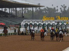 Santa Anita Park ran with empty grandstands for a year. The iconic Southern California track reopens to limited capacity Friday, April 2. (Image: Mark J. Terrill/AP