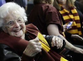 Sister Jean will make the trip to Indianapolis with Loyola Chicago as the Ramblers take on Georgia Tech in March Madness. (Image: David Goldman/AP)