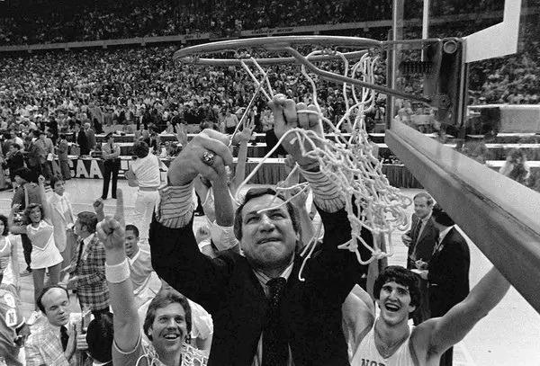 Dean Smith UNC cuts down nets 1982 championship