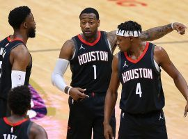 John Wall and Danuel House, Jr. of the Houston Rockets during the team's current 20-game losing streak and longest in franchise history, and longest in the NBA this season. (Image: Getty)