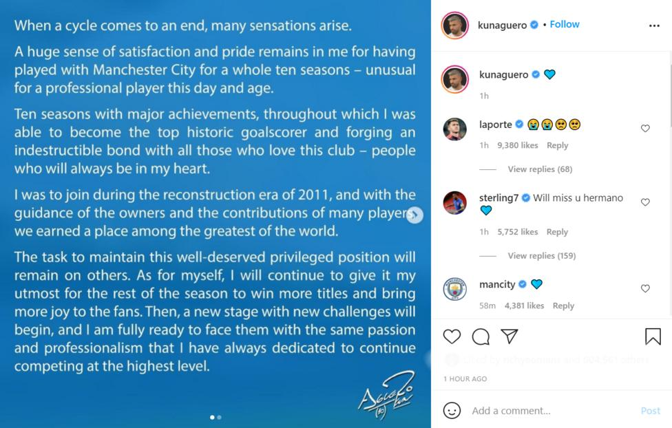 Aguero confirms his exit from Manchester City through an Instagram message