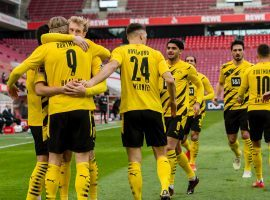 Erling Haaland celebrates after scoring for Borussia Dortmund against FC Koln (Source: @BVB / Twitter )
