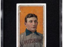 This T206 Honus Wagner formerly owned by Joe Garagiola brought $2.5 million at auction on Sunday. (Image: Heritage Auctions)