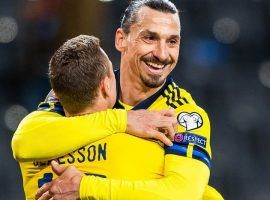 Swedish center forward Zlatan Ibrahimovic celebrates after giving an assist to Viktor Claesson in the World Cup qualifier against Georgia last week. (Image: svenskfotboll.se)