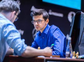 Anish Giri scored a critical win over Ding Liren to move within a half-point of Ian Nepomniachtchi at the FIDE Candidates Tournament. (Image: Lennart Ootes/FIDE)