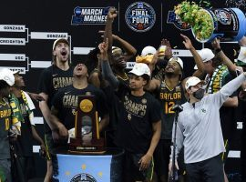 The Baylor Bears celebrate their first March Madness men's college basketball championship with a blowout victory over Gonzaga Bulldogs in Lucas Oil Stadium in Indianapolis, IN. (Image: AP)