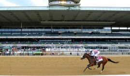 Tiz the Law's 2020 Belmont Stakes victory came in front of empty stands at Belmont Park. NYRA has the go-ahead to sell tickets at 20% capacity to the Belmont Stakes and the rest of its Spring Meet. (Image: AP Photo/Seth Wenig)