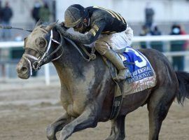 Kendrick Carmouche and Bourbonic pulled off the biggest upset on the Kentucky Derby Trail, capturing Saturday's Wood Memorial at 72/1. (Image: NYRA)