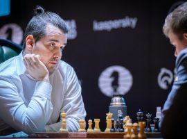 Ian Nepomniachtchi defeated Kirill Alekseenko on Wednesday to extend his lead at the Candidates Tournament. (Image: Lennart Ootes/FIDE)