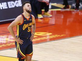 Steph Curry of the Golden State Warriors ponders the ultimate question: will the Warriors advance to the playoffs, or will the fizzle out on the bubble? (Image: Santiago Mejia/Getty)