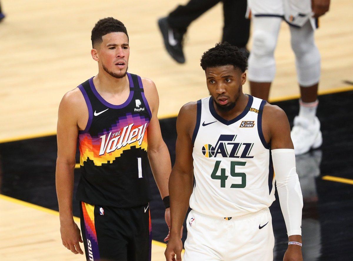 Utah Jazz Phoenix Suns Spida Mitchell Devn Booker Nuggets Clippers Nets Bucks