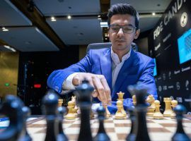 Anish Giri defeated Wang Hao to move into a share of second place at the Candidates Tournament. (Image: Lennart Ootes/FIDE)