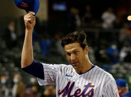Jacob deGrom threw himself into the NL MVP race on Friday night with a two-hit, 15 strikeout shutout against the Nationals. (Image: Jim McIssac/Newsday)