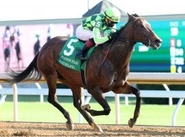 Joel Rosario and Kimari captured the Grade 1 Madison Stakes -- one of Rosario's four stakes wins and five overall. during Keeneland's opening weekend. (Image: Keeneland Photo)